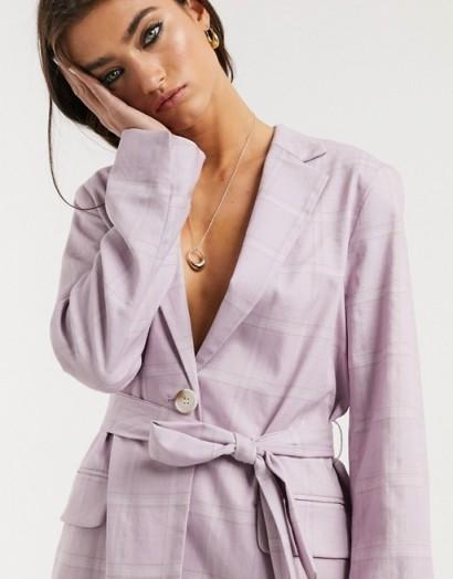 Bershka tie-waist check blazer in lilac – checked spring blazers