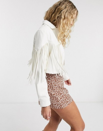 Bershka western faux leather jacket with fringing in white – fringed outerwear