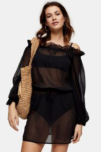 Topshop Black Bardot Smock Mini Dress | sheer balloon sleeve dresses | beachwear | poolside fashion
