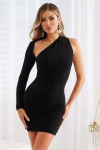 Club L London Black One Shoulder Bodycon Dress – lbd – one sleeve evening dresses