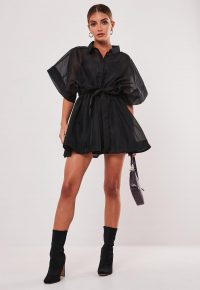 MISSGUIDED black organza skater shirt dress – lbd