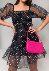 MISSGUIDED black polka dot tiered organza smock dress