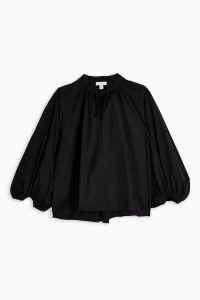 Topshop Boutique Black Poplin Smock Top | baloon sleeve blouse