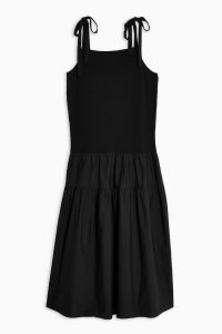 Topshop Black Tiered Poplin Pinafore Dress | shoulder tie sundress