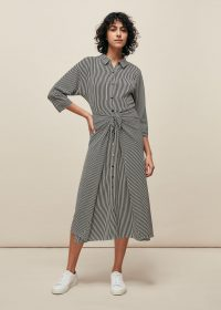 WHISTLES STRIPE SELMA TIE DRESS BLACK/WHITE