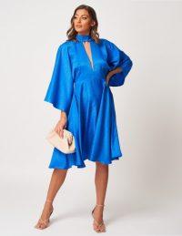 FOREVER UNIQUE Blue Floaty Snake Print High Neck Midi Dress ~ summer event dresses