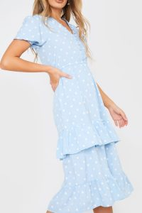 IN THE STYLE BLUE POLKA DOT BUTTON DOWN FRILL MIDI DRESS / ruffled tiers