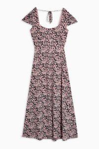 TOPSHOP Blush Pink Animal Print Mesh Midi Dress