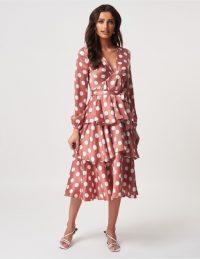 FOREVER UNIQUE Blush Pink Polka Dot Midi Dress With Ruffled Skirt