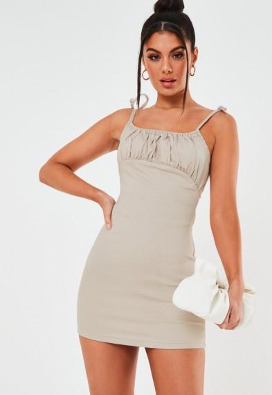 Missguided blush ruched bust stretch denim mini dress | spaghetti strap dresses
