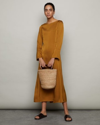 JIGSAW BOAT NECK FIT AND FLARE GOLDEN BROWN ~ chic clothing ~ effortless style