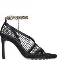BOTTEGA VENETA Chain-detail black leather and mesh courts