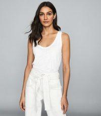 REISS BRIA LINEN JERSEY VEST TOP WHITE ~ summer wardrobe essentials
