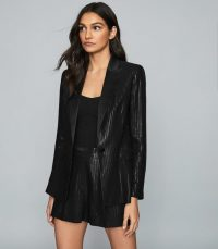 REISS BRIAR SHIMMER BLAZER BLACK ~ glamorous evening jacket
