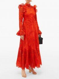 ZIMMERMANN Brightside Palm openwork-lace silk-organza dress ~ orange embroidered dresses