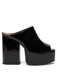 OSMAN Brigitte black patent-leather platform mules ~ shiny retro platforms