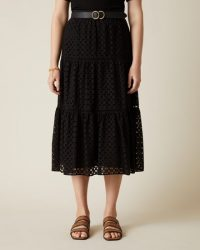 JIGSAW BRODERIE TIERED MIDI SKIRT BLACK ~ feminine summer skirts