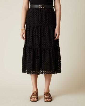 JIGSAW BRODERIE TIERED MIDI SKIRT BLACK ~ feminine summer skirts