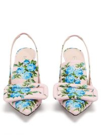 EMILIA WICKSTEAD Buckle floral-print fil-coupé pumps in pink – buckle embellished slingbacks