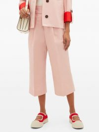 MARNI Pink buckled cotton-blend cropped trousers