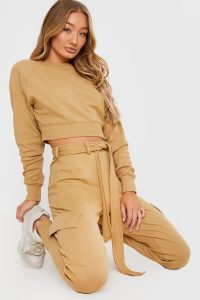 IN THE STYLE CAMEL BALLOON SLEEVE LOUNGEWEAR JUMPER