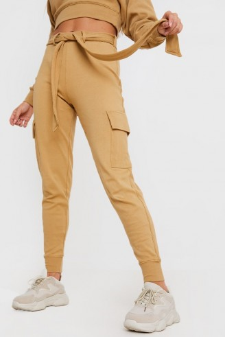 IN THE STYLE CAMEL BELTED LOUNGEWEAR JOGGERS