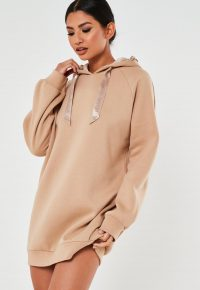 MISSGUIDED camel msgd oversized loungewear hoodie dress