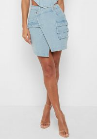 Manière De Voir CARGO DENIM SKIRT LIGHT BLUE