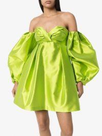 CAROLINA HERRERA green off-the-shoulder balloon-sleeve dress – 80s look party wear