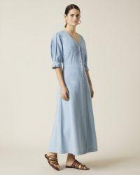 JIGSAW CHAMBRAY BALLOON SLEEVE DRESS ARCTIC BLUE / lightweight denim