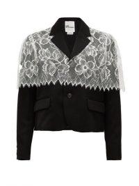 NOIR KEI NINOMIYA Black chantilly-lace trimmed wool jacket