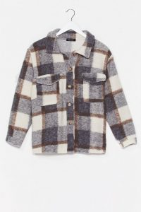 NASTY GAL Checkin' You Out Faux Wool Oversized Jacket Grey / casual jackets