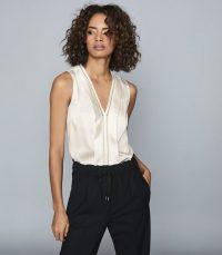 REISS CHELSEA SILK BLEND V-NECK TOP WHITE ~ essential sleeveless tops