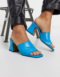 Chio mules with flared heel in blue leather