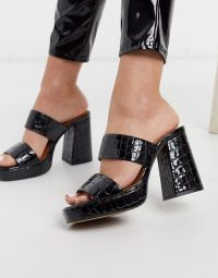 Chio platform mules in black croc effect leather