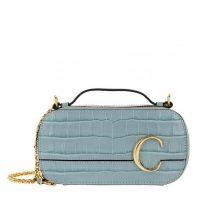 CHLOÉ Mini C Crossbody Bag Faded Blue ~ small top handle bag