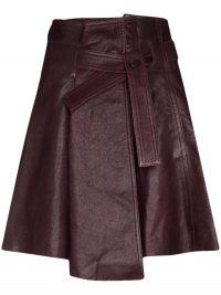 CHLOÉ tie belt mini skirt in purple leather