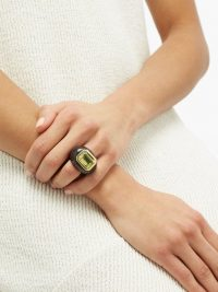 ROSA DE LA CRUZ Citrine, ebony & 18kt gold ring – chunky wood and green stone rings