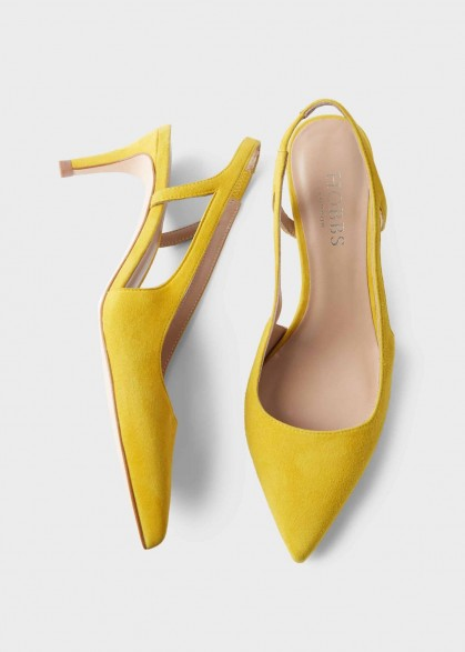 HOBBS KORA STRAPPY HEELED SANDAL SUNFLOWER YELLOW ~ bright point toe slingbacks ~ spring shoes