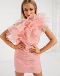 Club L London organza ruffle one shoulder mini dress in coral – frothy dresses