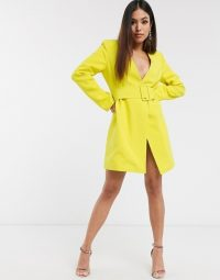 Club L London Petite plunge neck belted blazer dress in lime