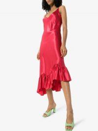 Collina Strada Michi Red-Satin Slip Dress | asymmetric cami dresses