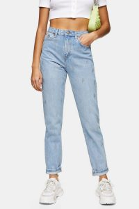 Topshop CONSIDERED Bleach Diamanté Lightning Bolt Mom Tapered Jeans