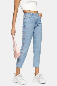 Topshop CONSIDERED Bleach Diamanté Star Straight Jeans