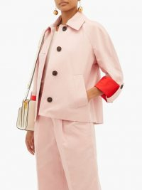 MARNI Pink contrast-cuff cotton-blend jacket – casual chic outerwear