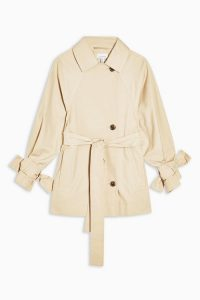 TOPSHOP Cotton Cropped Trench Coat – lightweight tie sleeve outerwear