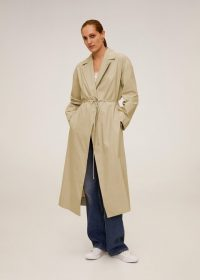 MANGO Dondiego Cotton long trench beige