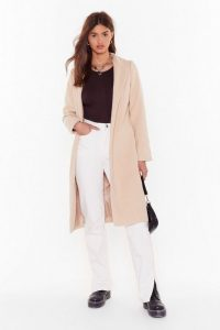 NASTY GAL Cover Me Tailored Longline Coat Beige