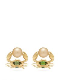 DANIELA VILLEGAS Crab mismatched 18kt gold earrings ~ pearls, emeralds & tourmalines