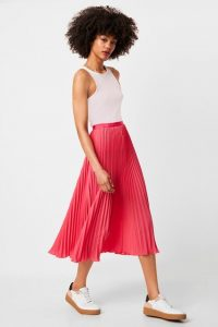 French Connection CREPE LIGHT PLEATED MIDI SKIRT Raspberry Sorbet | bright skirts